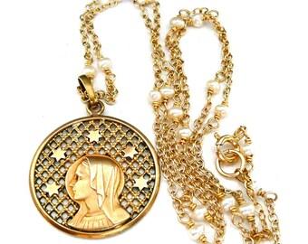 Virgin Mary Necklace, Mary Medal, Catholic Necklace, Blessed Virgin, Vintage Mary Medal, French Medal