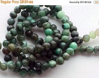 ON SALE 50% 5 Strands WHOLESALE Emerald Beads, Green Shaded Emerald Beads, Emerald Plain Round Beads, Emerald Necklace, 6mm, 13 Inch Strand