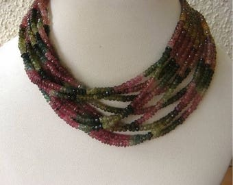 ON SALE 55% Multi Tourmaline Rondelles - 4mm Faceted Rondelles - 14 Inch Strand