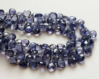 3.5 Inches Iolite Heart Beads, 40 Pcs Beautiful Violet Blue Iolite Faceted Heart Beads, Iolite Necklace, 4.5-5mm - A2J4