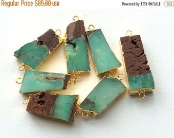 65% SALE Raw Chrysoprase Connectors, Raw Chrysoprase Gold Connectors, Rough Green Chrysoprasel Necklace Connector, Double Loop, 30-40mm, 5 P