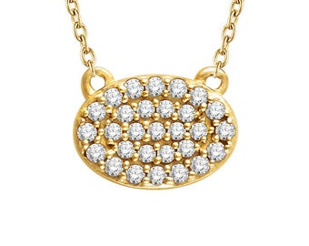Oval Diamond Cluster Necklace - VS1 or SI Diamonds. 14k, 18k Yellow, Rose, White Gold & Platinum. Geometric Fine Jewelry