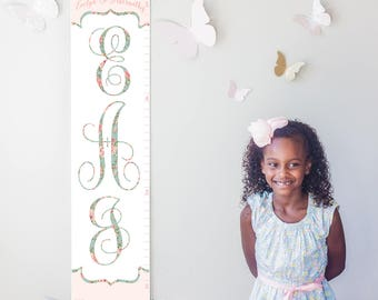 Personalized/ Custom Girls Floral Monogram canvas growth chart - perfect for girl nursery decor or baby shower gift