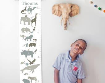 Custom/ Personalized Alphabet Animals canvas growth chart in neutrals - boy, girl, or gender neutral nursery decor or baby shower gift