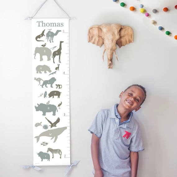 Personalized Alphabet Animals canvas growth chart in neutrals
