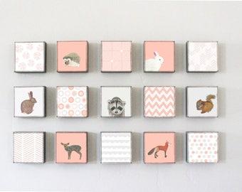Woodland Nursery Art, forest animal prints, nursery wall art,  Choose (15) FIFTEEN of our Custom Designs 5x5 Nursery Decor Nursery Art