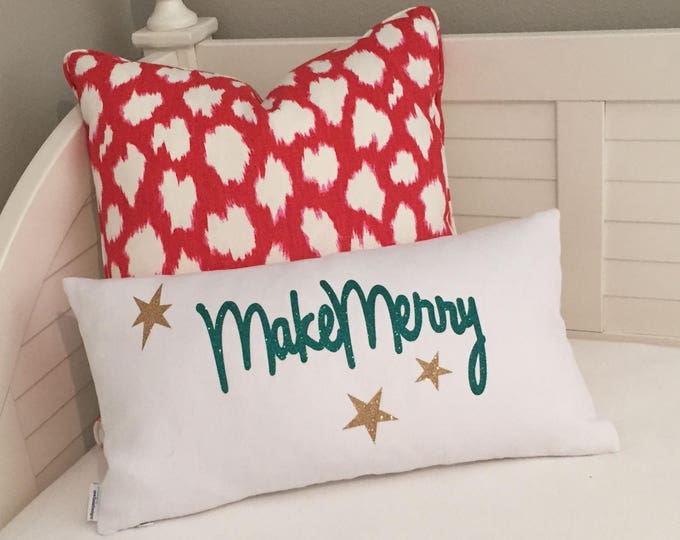 Ready to Ship - Sparkle Make Merry on White Linen Lumbar Designer Holiday Christmas Pillow - FREE SHIPPING