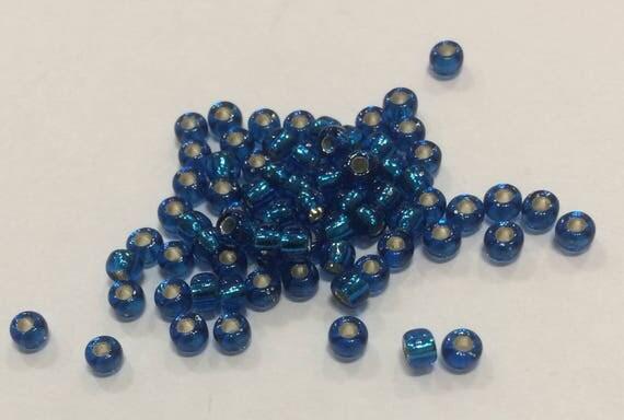 Size 8 Miyuki Seed Bead Silverlined Capri Blue 15g