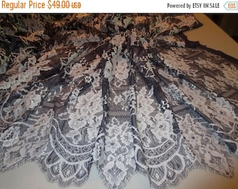 ON SALE Lovely Navy Blue and Ivory Floral Patchwork Design Leavers Chantilly Lace Fabric--By the Yard