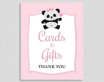 Cards and Gifts Shower Table Sign, Pink Panda, Baby Girl Shower, INSTANT PRINTABLE