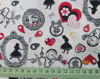 """Fairy tale - Alice in Wonderland and Love - 1 yard - cotton - 3 colors - fabric - Check out with code """"5YEAR"""" to save 20% off"""