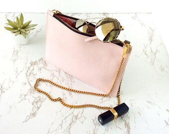Bridesmaid clutch, blush pink clutch, rose clutch, light pink leather purse, bridesmaid gift, gifts for bridesmaids, personalized clutch