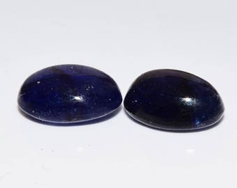 IOLITE (34503) PAIR ( 2 Gems) 8 x 6mm Oval Blue Iolite Cabs - Pair / 2