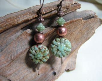 sage green and copper dangle earrings