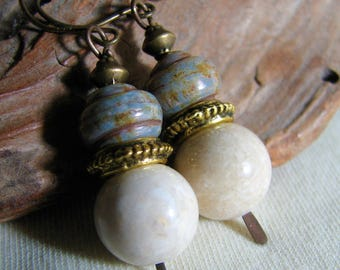 grey and beige stacked dangle earrings