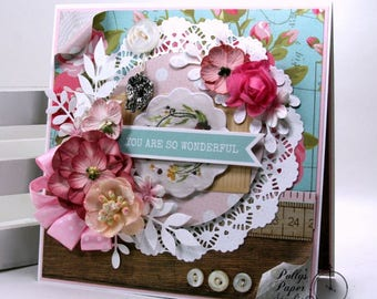 You Are So Wonderful Greeting Card Polly's Paper Studio Handmade