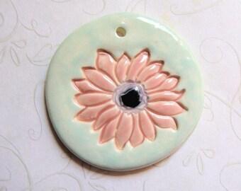 Pastel Flower Ceramic Round Pendant