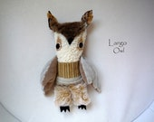 Largo owl ,  soft art  creature  textile doll by   Wassupbrothers,  natural tones, retro woodland owl, recycled scrappy boho buho