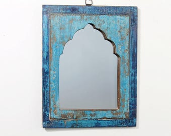 Moroccan Mirror Distressed Bright Blue and Navy Boho Decor Turkish Interior Distressed Wood Wall Mirror