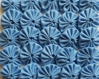 50 Blue 1 inch Yo Yos Applique Quilt Pieces Scrapbooking Embellishments