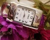 EIKON Ladies Cuff Watch, Silver Wide Cuff, Bracelet Watch, Cuff Watch, Silver Bracelet Watch, Analog, NEW BATTERY Installed