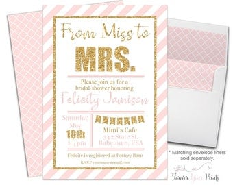 Bridal Shower Invitation - Bridal Shower Invite - From Miss to Mrs - Engagement Party - Engagement Invite- Girl's Night Out - Pink and Gold