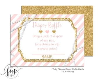 Pink and Gold Diaper Raffle Ticket, Baby Shower Insert Cards, Glitter and Pearls Diaper Raffle, Pink and Gold Baby Shower, Baby Shower Games