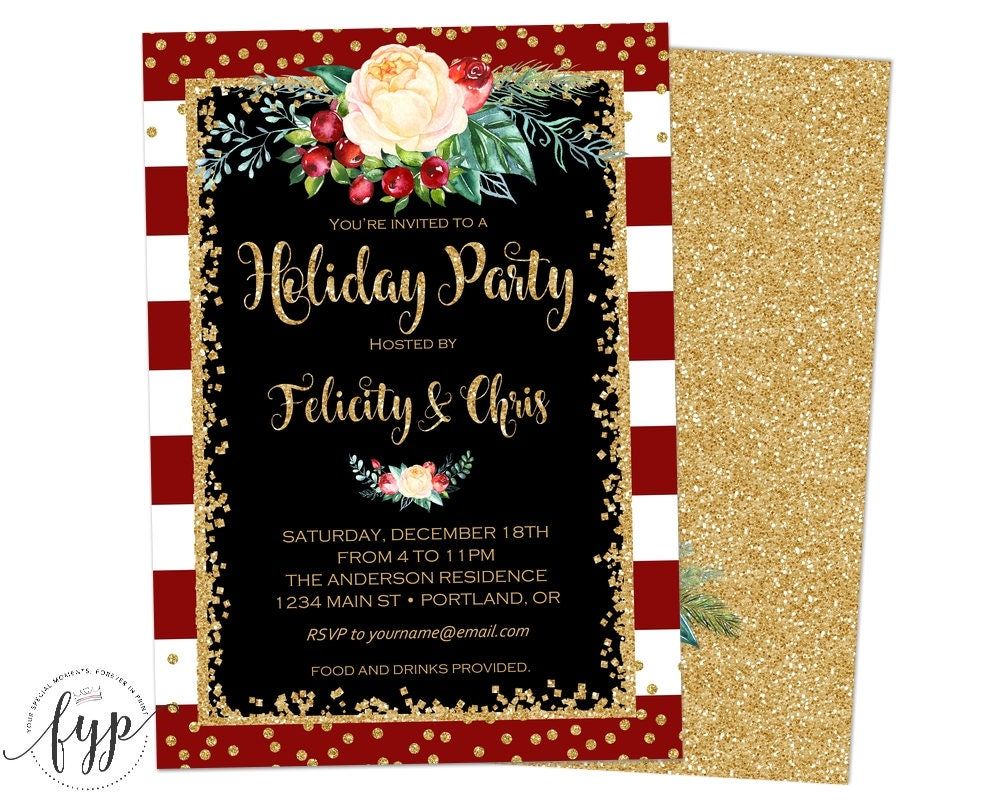 Holiday Party Invitation Christmas Party Invite Christmas