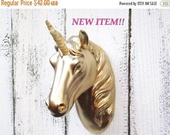 ON SALE GOLD Unicorn with Gold Horn~Unicorn Wall Hanging~Faux Unicorn