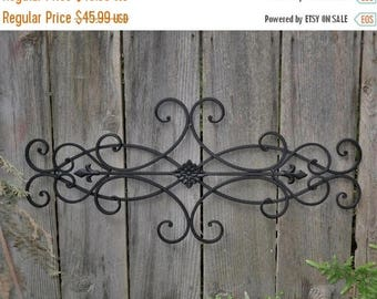 ON SALE Wrought Iron Wall Deco / Fleur de Lis / Shabby Chic Decor / Bedroom Wall Decor / Kitchen Decor