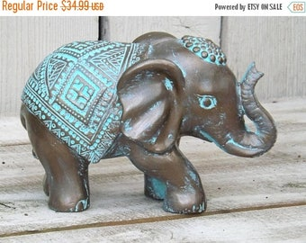 ON SALE Elephant Decor~Patina ~Decorative Elephant Figurine~Elephant Sculpture~Bronze~Bohemian