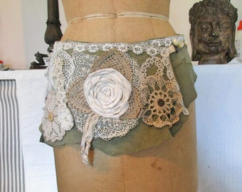 suede and vintage lace tribal boho belt one of a kind