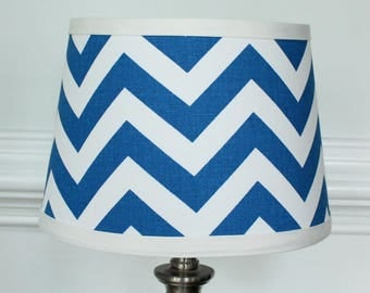 IN STOCK Small White Cobalt Blue Chevron lamp shade with accent white .  Nursery decor