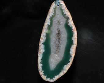 34x77x5mm Dyed Crystallized AGATE Geode Slice Slab X-Looong Organic Free Form Focal Bead Pendant - G1124