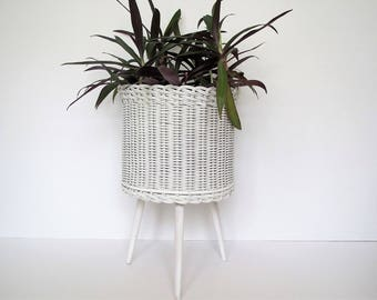 Vintage wicker plant stand/large footed woven planter/ white wicker