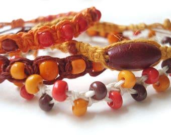 Macrame Bracelet Set, Beaded Knotted Fiber Bracelets, Adjustable Friendship Bracelets, Boho Chic Hippie Style Jewelry, Colorful Bracelets