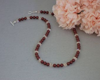 Swarovski Crystal Necklace Of Bordeaux And Silk    FREE SHIPPING