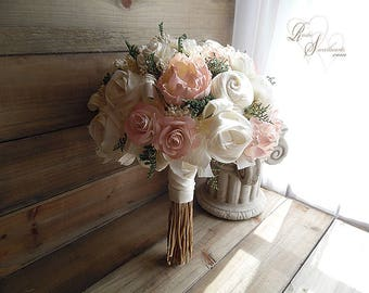 Ships in 4 weeks ~ Large Blush and Ivory Peony Sola Flower & Satin Bridal Bouquet