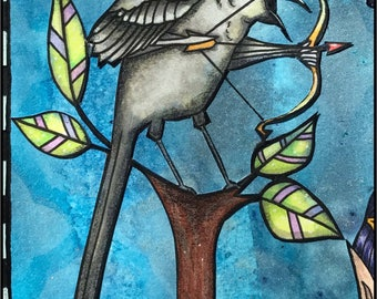 Oddleigh Mockingbird - a whimsical & quirky digi stamp set of 5 images for instant download