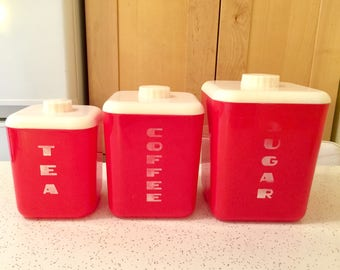 Vintage 1950s Red Kitchen Canister Set, Sugar, Coffee, Tea, Art Deco Style Lustro Ware
