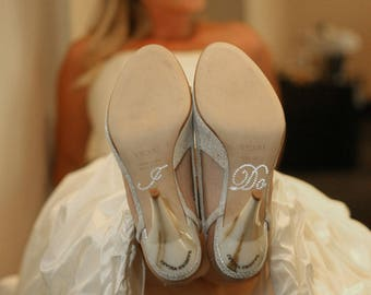 Wedding I DO Shoe Crystal Stickers in Silver