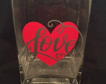 Personalized glass vase valentines day LOVE