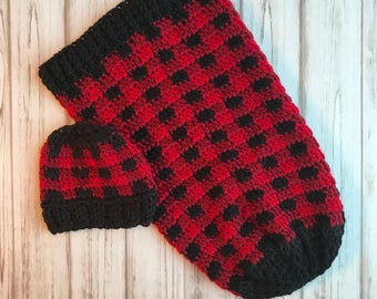 Red Plaid Cocoon With Hat- Size Newborn, Buffalo plaid, Newborn photo prop, Cute photo prop,