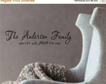 ON SALE Custom Family name with Established date...vinyl lettering..