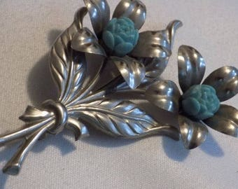 Vintage brooch, 3 inch retro silver flower brooch with aqua centers, 1950's brooch