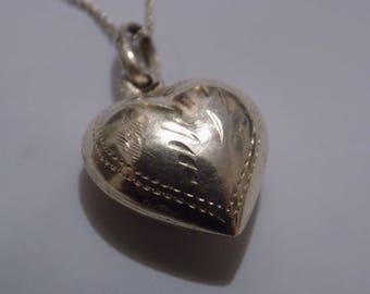 Vintage pendant, sterling silver bubble heart pendant with  925 chain, vintage pendant, silver jewelry