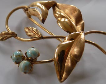Vintage brooch, 750-14 KG and turquoise bell flower brooch, fine jewelry, estate jewellery