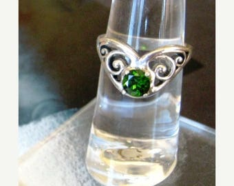 Summer time Sale Event Green Chrome Diopside Gypsy Ring sterling silver scroll handmade custom sizes half sizes 4 5 6 7 8 9 10 11 fine jewel