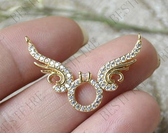 24K Gold plated Brass Wing Connector Pendant, wing pendant Connector,necklace Connector loose bead, Charms Jewelry finding beads
