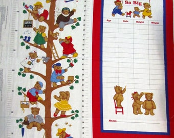 """CHILD'S GROWTH CHART Cut and Sew Fabric Panel 35"""" x 43"""" Cute Bear Characters for Boy or Girl"""
